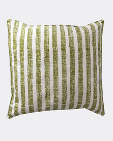 MARADADHI TEXTILES Textured Stripe Design Cushion Cover Green