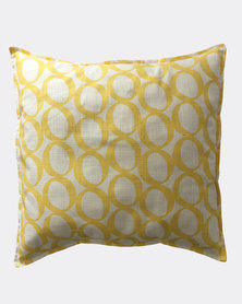 MARADADHI TEXTILES Lucky Bean Design Cushion Cover Yellow