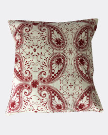 MARADADHI TEXTILES Paisley Design Cushion Cover Red
