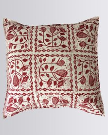 MARADADHI TEXTILES Block Cut Protea Design Cushion Cover Red