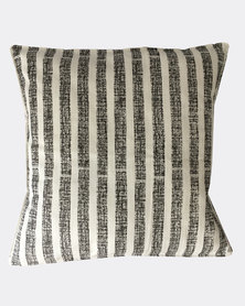 MARADADHI TEXTILES Textured Stripe Design Cushion Cover Grey