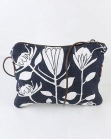 MARADADHI TEXTILES Protea Leather And Fabric Sling Bag Indigo