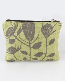 MARADADHI TEXTILES Protea Leather And Fabric Purse Khaki Green