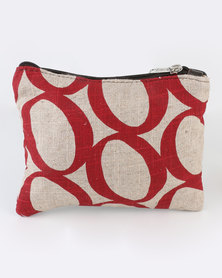 MARADADHI TEXTILES Lucky Bean Leather And Fabric Purse Red
