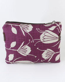 MARADADHI TEXTILES Protea Leather And Fabric Purse Mulberry/Stone