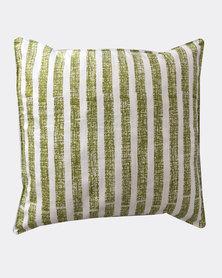 MARADADHI TEXTILES Textured Stripe Design Cushion Cover Green