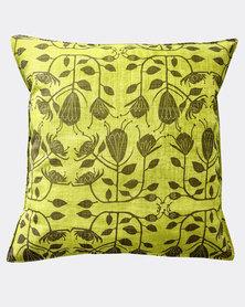 MARADADHI TEXTILES Protea Design Linen Cushion Cover Green