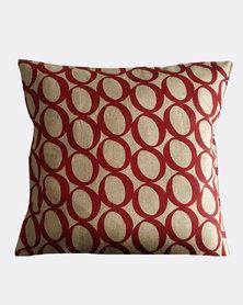 MARADADHI TEXTILES Lucky Bean Design Linen Cushion Cover Red