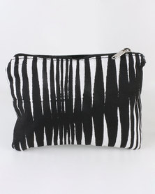 MARADADHI TEXTILES Basket Design Leather and Fabric Purse Black/White