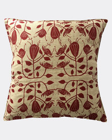 MARADADHI TEXTILES Protea Design Cushion Cover Red