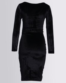 Me-A-Mama Little Velvet Dress Black