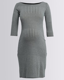 Me-A-Mama Vertical Shift Dress Khaki