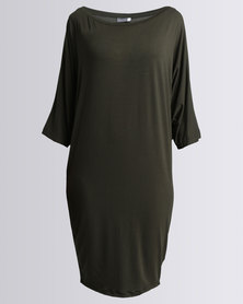 Michelle Ludek 3/4 Sleeve Jackie Dress Khaki