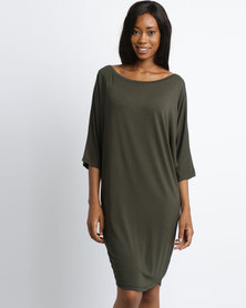 Michelle Ludek 3/4 Sleeve Jackie Dress Khaki