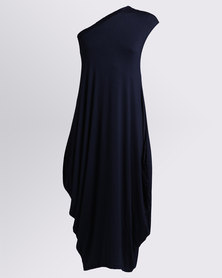 Michelle Ludek Zara One Shoulder Mid Length Dress Navy