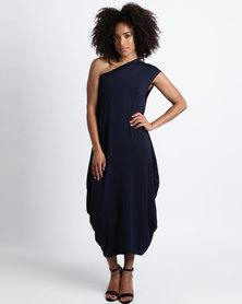 Michelle Ludek Zara One Shoulder Mid Length Dress Navy