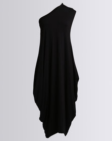 Michelle Ludek Zara One Shoulder Mid Length Dress Black