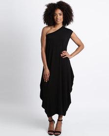 Michelle Ludek Zara One Shoulder Mid Length Dress Black