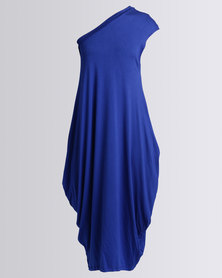 Michelle Ludek Zara One Shoulder Mid Length Dress Cobalt