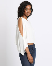 Michelle Ludek Exclusive Anna Open Shoulder Top Ivory