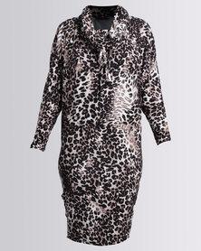 Michelle Ludek Winter Jacky Midi Dress With 3/4 Sleeve Animal Print