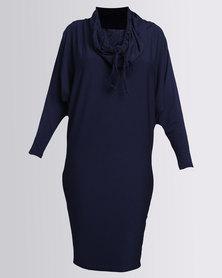 Michelle Ludek Winter Jacky Midi Dress With 3/4 Sleeve Navy