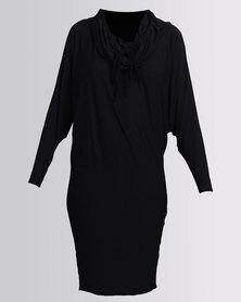 Michelle Ludek Winter Jacky Midi Dress With 3/4 Sleeve Black