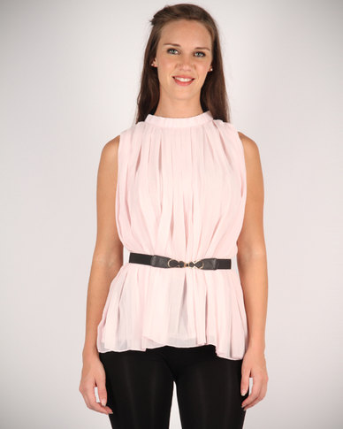 Mint Pleated Sleeveless Top With Belt Pink