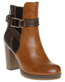 Miss Black Emmy Two Toned Heeled Ankle Boots Tan