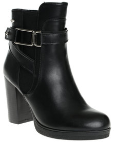 Miss Black Emmy Two Toned Heeled Ankle Boots Black