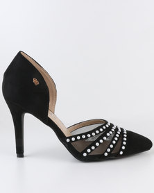 Miss Black Ibiza High Heel Court Shoes Black