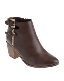 Miss Black Suki Heeled Ankle Boots Brown