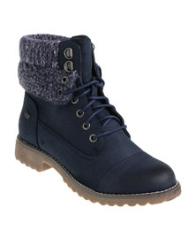 Miss Black Margot Knit Lace Up Flat Boots Navy