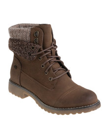 Miss Black Margot Knit Lace Up Flat Boots Brown