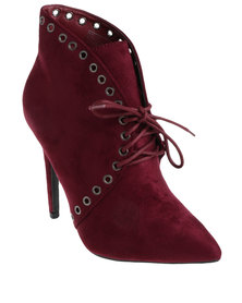 Miss Black Reid Pointy Heeled Lace Up Ankle Boots  Burgundy