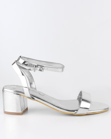 Miss Black Assembly Block Heel Sandal Silver