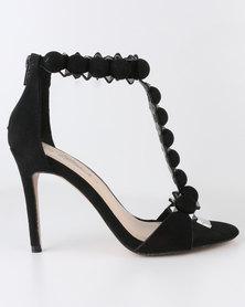 Miss Black Slim High Heel T-Bar Sandal Black