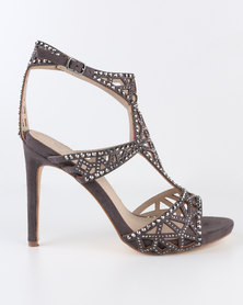Miss Black Icon Embellished High Heel Sandal Grey
