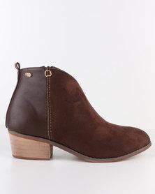 Miss Black Garnet Low Block Heeled Ankle Boot Brown