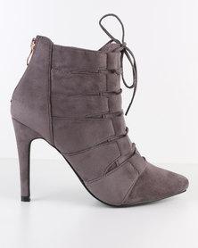 Miss Black Dana Lace Up Pointy Heeled Boot Grey