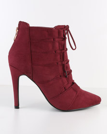 Miss Black Dana Lace Up Pointy Heeled Boot Burgundy