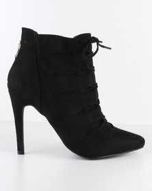 Miss Black Dana Lace Up Pointy Heeled Boot Black