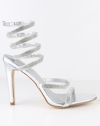 Miss Black Mint High Heel Sandal Silver