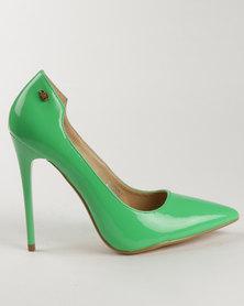 Miss Black Sanderling High Heel Court Shoe Green