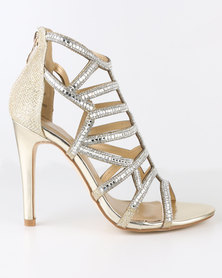 Miss Black Ominia Caged Heel Gold