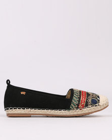 Miss Black Coley  Embroidered Flat Espadrille Black