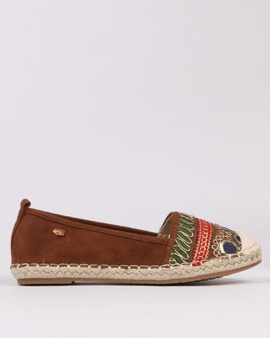 Miss Black Coley Embroidered Flat Espadrilles Brown