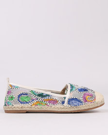 Miss Black Drum Embellished Flat Espadrilles White