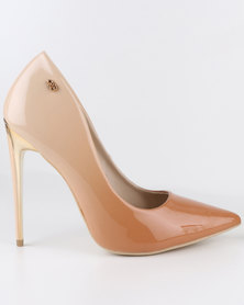 Miss Black Lake High Heel Court Shoes Nude