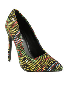Miss Black Gal Printed Pointy Heeled Court Shoe Red